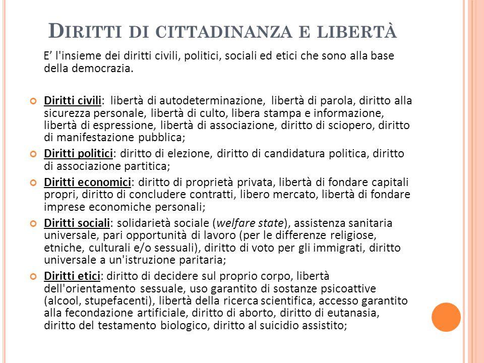 D IRITTI DI CITTADINANZA E LIBERTÀ E' l insieme dei diritti civili, politici, sociali ed etici che sono alla base della democrazia.