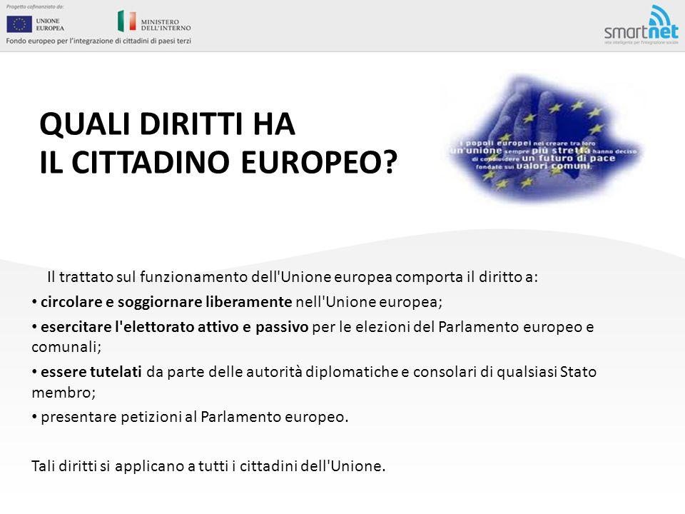 QUALI DIRITTI HA IL CITTADINO EUROPEO? Il trattato sul funzionamento dell'Unione europea comporta il diritto a: circolare e soggiornare liberamente ne