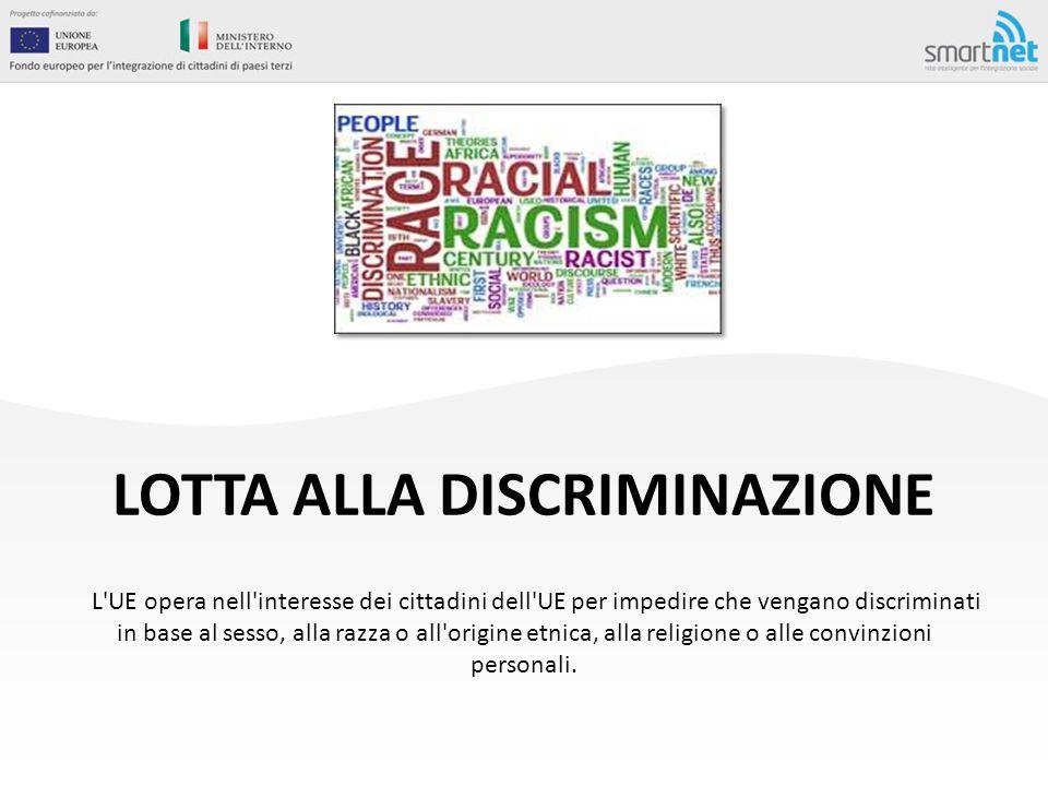 LOTTA ALLA DISCRIMINAZIONE L'UE opera nell'interesse dei cittadini dell'UE per impedire che vengano discriminati in base al sesso, alla razza o all'or
