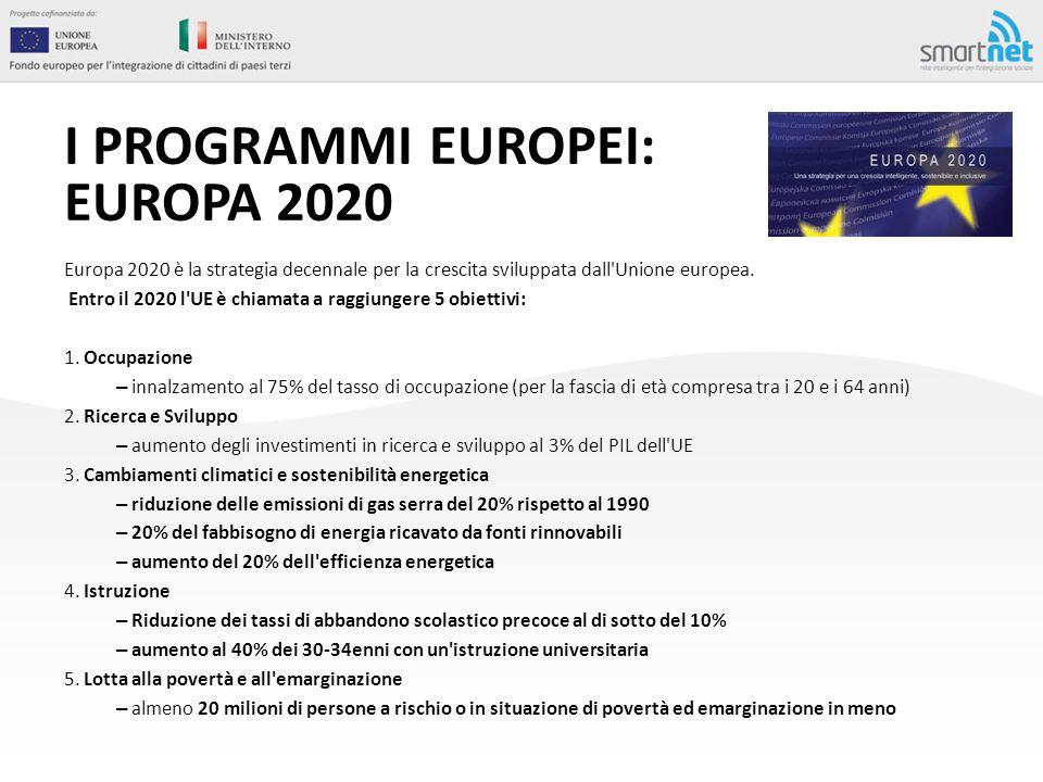 I PROGRAMMI EUROPEI: EUROPA 2020 Europa 2020 è la strategia decennale per la crescita sviluppata dall'Unione europea. Entro il 2020 l'UE è chiamata a