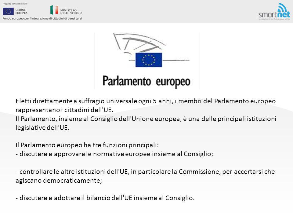 Eletti direttamente a suffragio universale ogni 5 anni, i membri del Parlamento europeo rappresentano i cittadini dell'UE. Il Parlamento, insieme al C