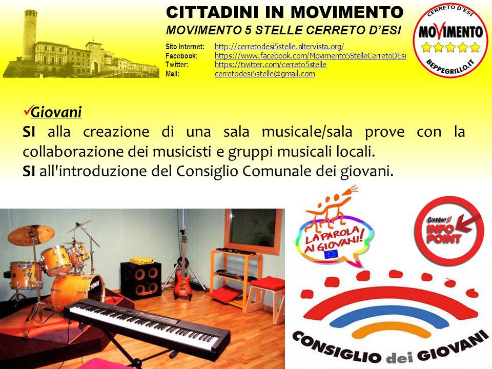Giovani SI alla creazione di una sala musicale/sala prove con la collaborazione dei musicisti e gruppi musicali locali. SI all'introduzione del Consig