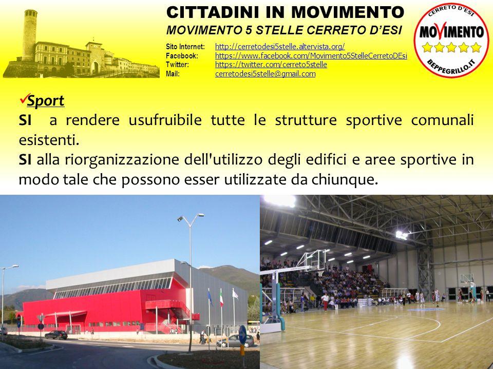 Sport SI a rendere usufruibile tutte le strutture sportive comunali esistenti. SI alla riorganizzazione dell'utilizzo degli edifici e aree sportive in