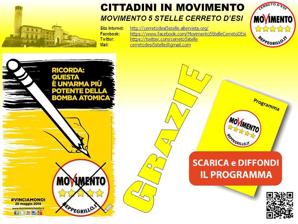 #VinciamoNoi CITTADINI IN MOVIMENTO MOVIMENTO 5 STELLE CERRETO D'ESI Sito Internet: http://cerretodesi5stelle.altervista.org/ http://cerretodesi5stell