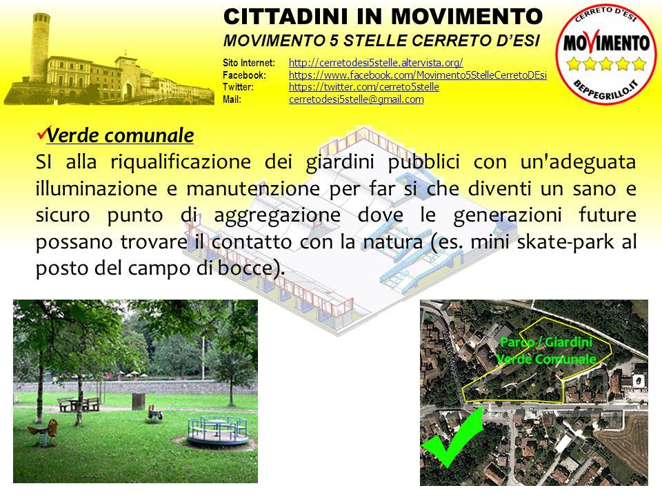 Verde comunale SI alla riqualificazione dei giardini pubblici con un'adeguata illuminazione e manutenzione per far si che diventi un sano e sicuro pun