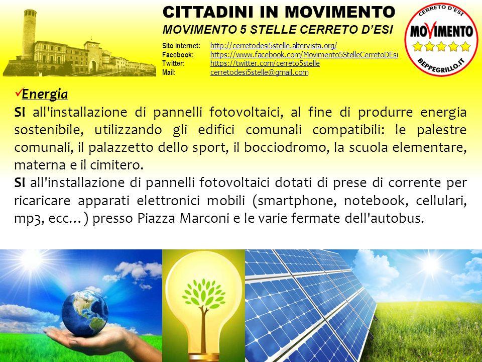 Energia SI all'installazione di pannelli fotovoltaici, al fine di produrre energia sostenibile, utilizzando gli edifici comunali compatibili: le pales