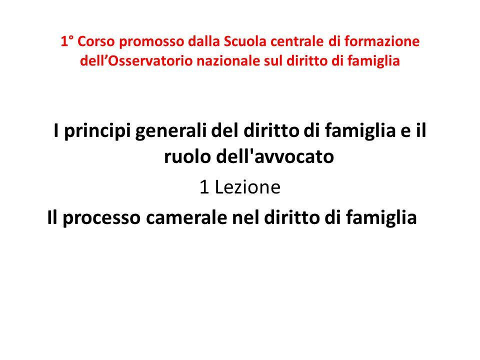 1° Corso promosso dalla Scuola centrale di formazione dell'Osservatorio nazionale sul diritto di famiglia I principi generali del diritto di famiglia
