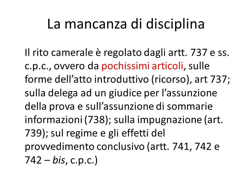 La mancanza di disciplina Il rito camerale è regolato dagli artt.