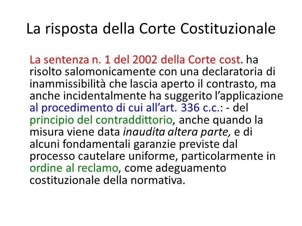 La risposta della Corte Costituzionale La sentenza n. 1 del 2002 della Corte cost. ha risolto salomonicamente con una declaratoria di inammissibilità