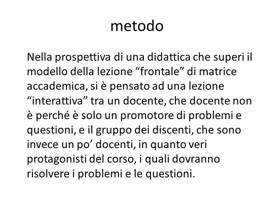 """metodo Nella prospettiva di una didattica che superi il modello della lezione """"frontale"""" di matrice accademica, si è pensato ad una lezione """"interatti"""