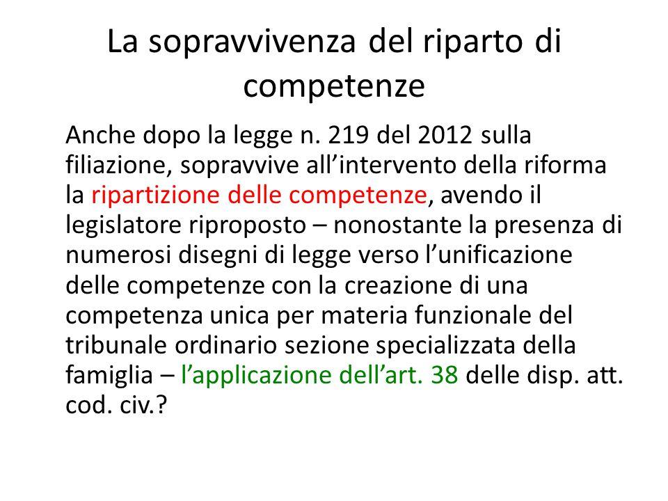 La sopravvivenza del riparto di competenze Anche dopo la legge n. 219 del 2012 sulla filiazione, sopravvive all'intervento della riforma la ripartizio