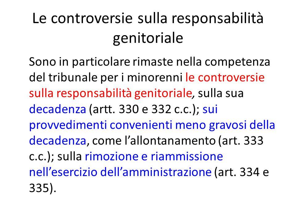 Le controversie sulla responsabilità genitoriale Sono in particolare rimaste nella competenza del tribunale per i minorenni le controversie sulla responsabilità genitoriale, sulla sua decadenza (artt.