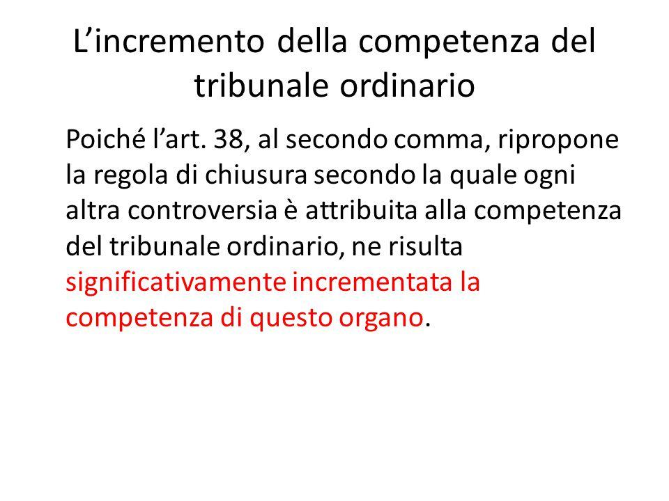 L'incremento della competenza del tribunale ordinario Poiché l'art. 38, al secondo comma, ripropone la regola di chiusura secondo la quale ogni altra