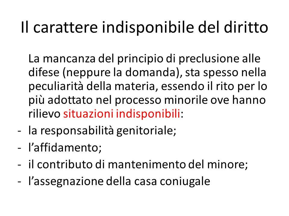 Il carattere indisponibile del diritto La mancanza del principio di preclusione alle difese (neppure la domanda), sta spesso nella peculiarità della m