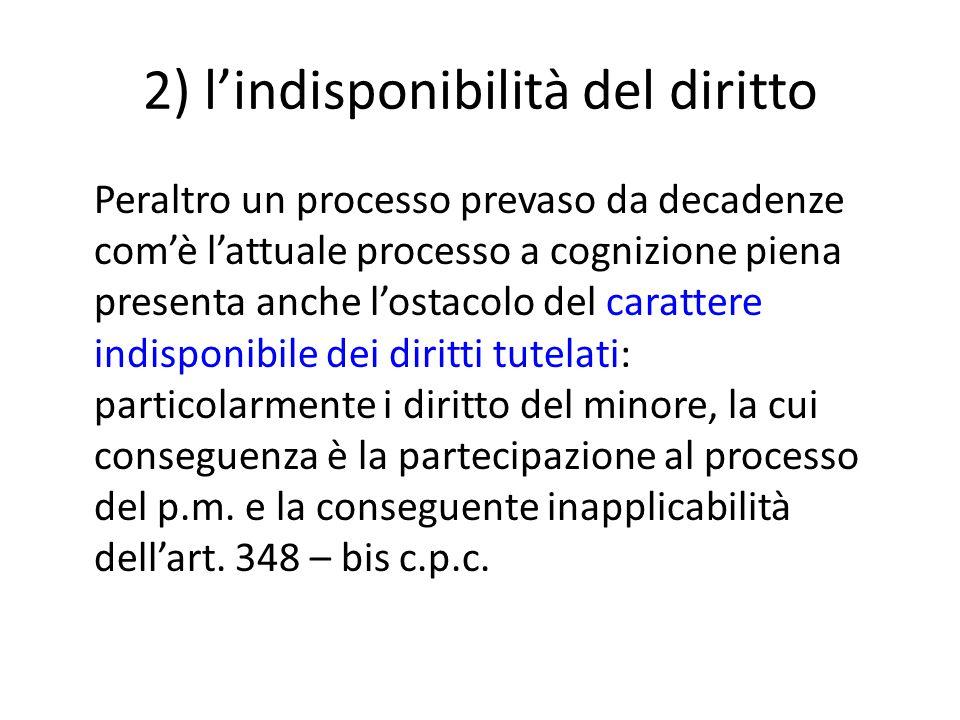 2) l'indisponibilità del diritto Peraltro un processo prevaso da decadenze com'è l'attuale processo a cognizione piena presenta anche l'ostacolo del c