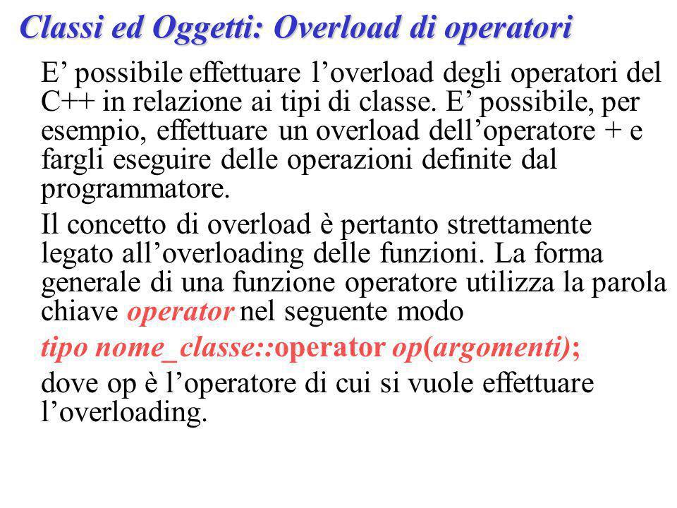 E' possibile effettuare l'overload degli operatori del C++ in relazione ai tipi di classe.