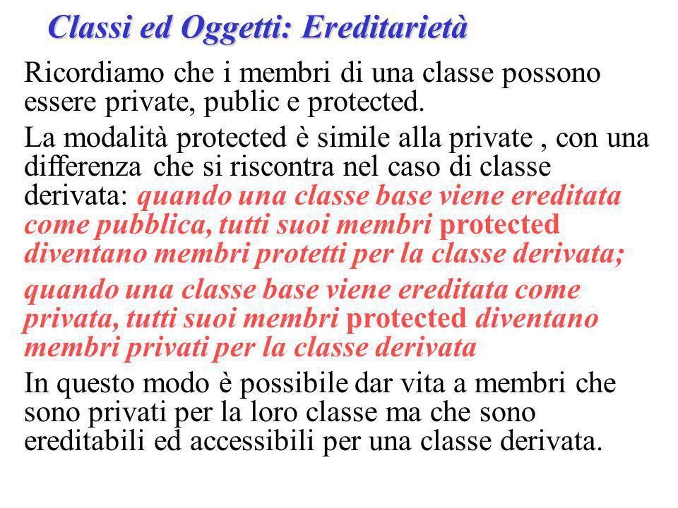 Ricordiamo che i membri di una classe possono essere private, public e protected.