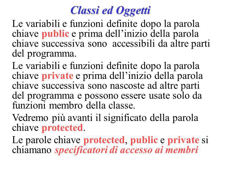 Classi ed Oggetti Le variabili e funzioni definite dopo la parola chiave public e prima dell'inizio della parola chiave successiva sono accessibili da altre parti del programma.