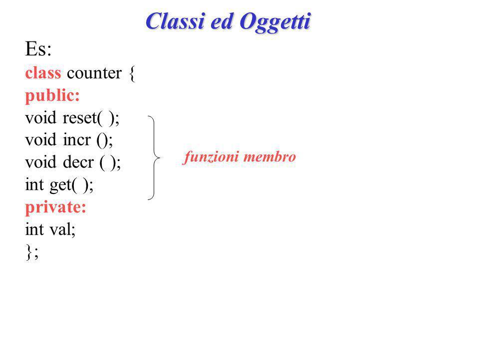 Classi ed Oggetti Es: class counter { public: void reset( ); void incr (); void decr ( ); int get( ); private: int val; }; funzioni membro