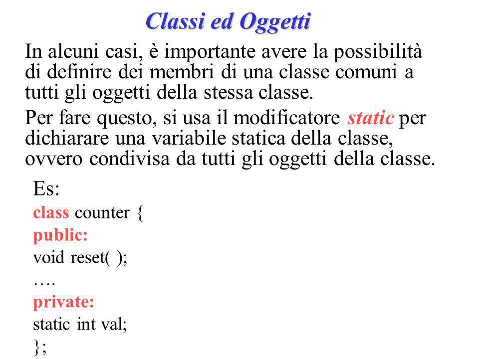 Classi ed Oggetti E' possibile dichiarare una funzione non membro o una classe come friend di una classe.