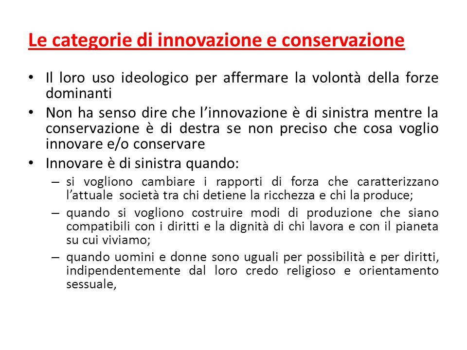 Le categorie di innovazione e conservazione Il loro uso ideologico per affermare la volontà della forze dominanti Non ha senso dire che l'innovazione