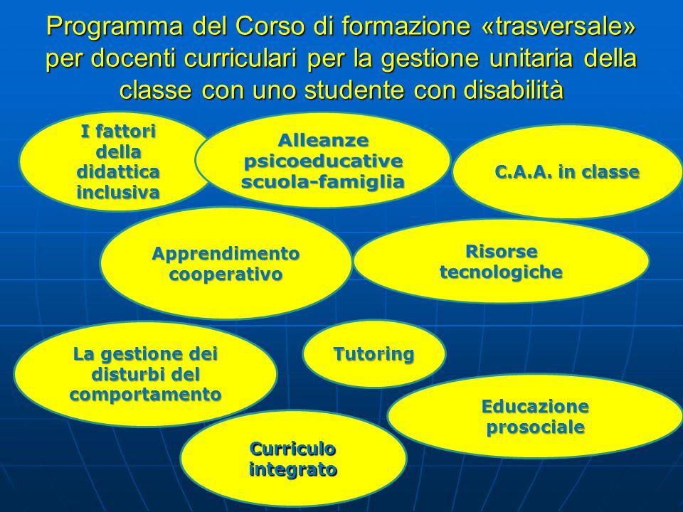 Programma del Corso di formazione «trasversale» per docenti curriculari per la gestione unitaria della classe con uno studente con disabilità I fattor
