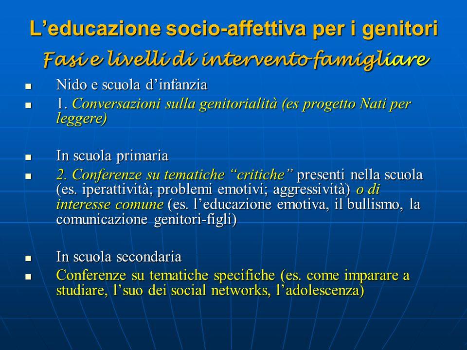 L'educazione socio-affettiva per i genitori Fasi e livelli di intervento famigliare Nido e scuola d'infanzia Nido e scuola d'infanzia 1. Conversazioni