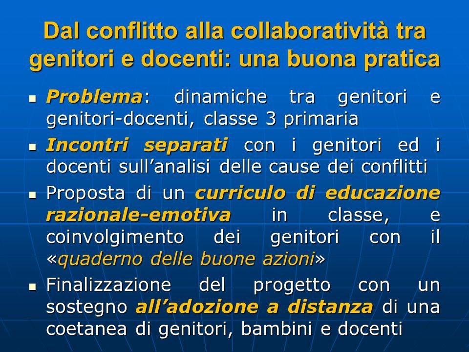 Dal conflitto alla collaboratività tra genitori e docenti: una buona pratica Problema: dinamiche tra genitori e genitori-docenti, classe 3 primaria Pr