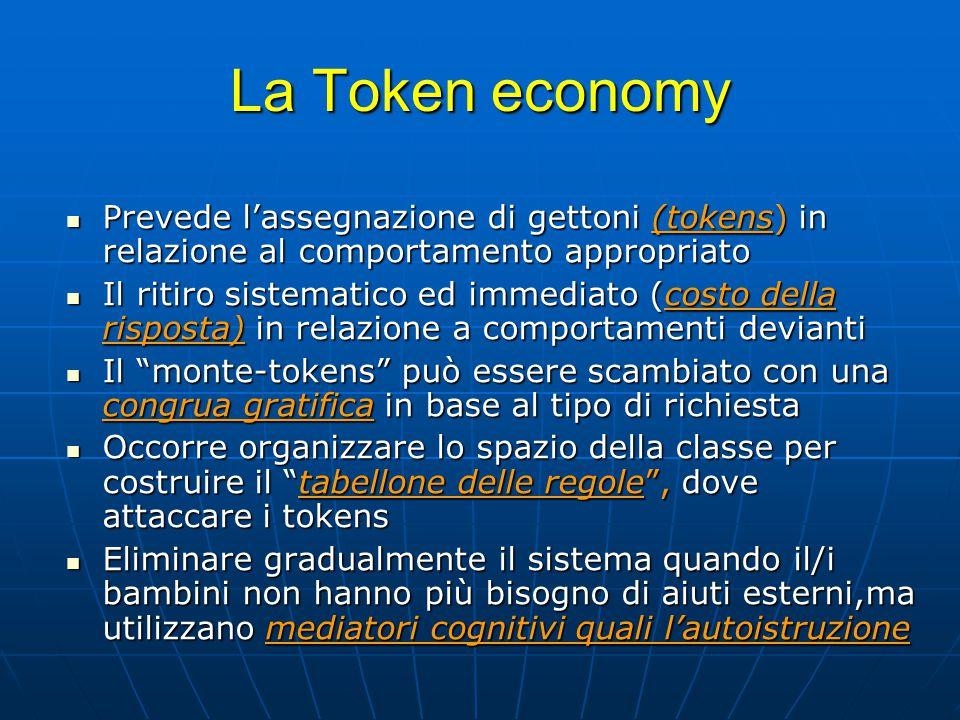 La Token economy Prevede l'assegnazione di gettoni (tokens) in relazione al comportamento appropriato Prevede l'assegnazione di gettoni (tokens) in re