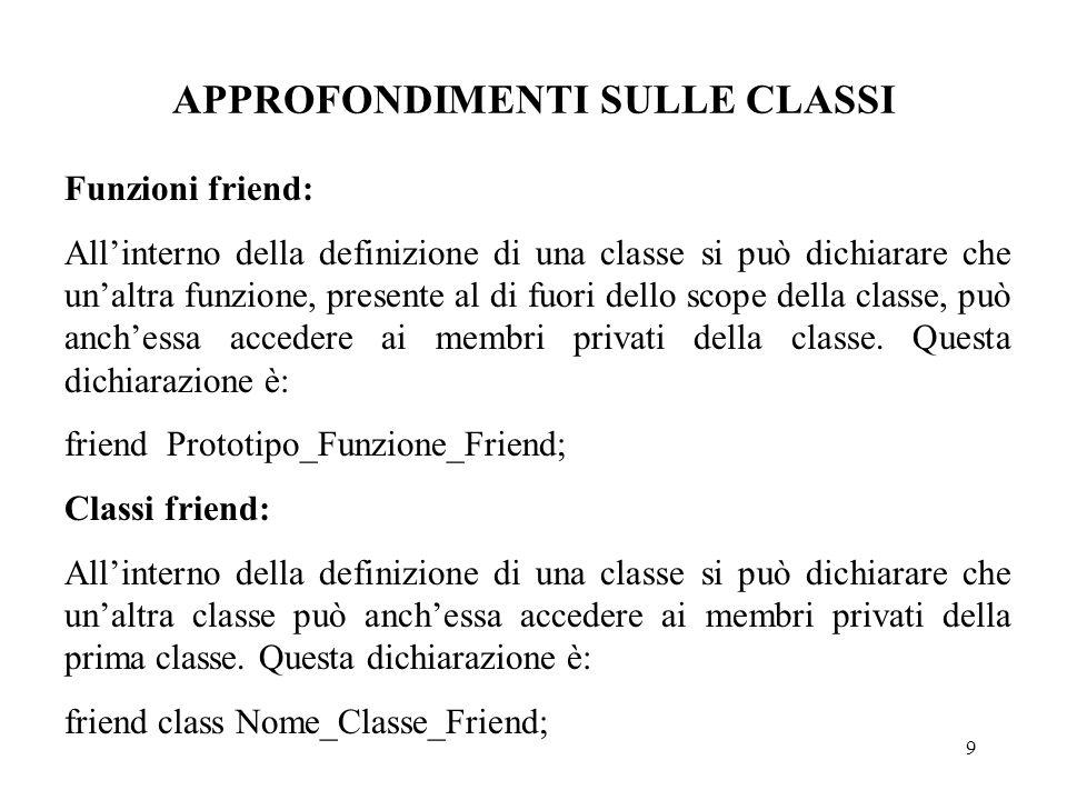 9 APPROFONDIMENTI SULLE CLASSI Funzioni friend: All'interno della definizione di una classe si può dichiarare che un'altra funzione, presente al di fuori dello scope della classe, può anch'essa accedere ai membri privati della classe.