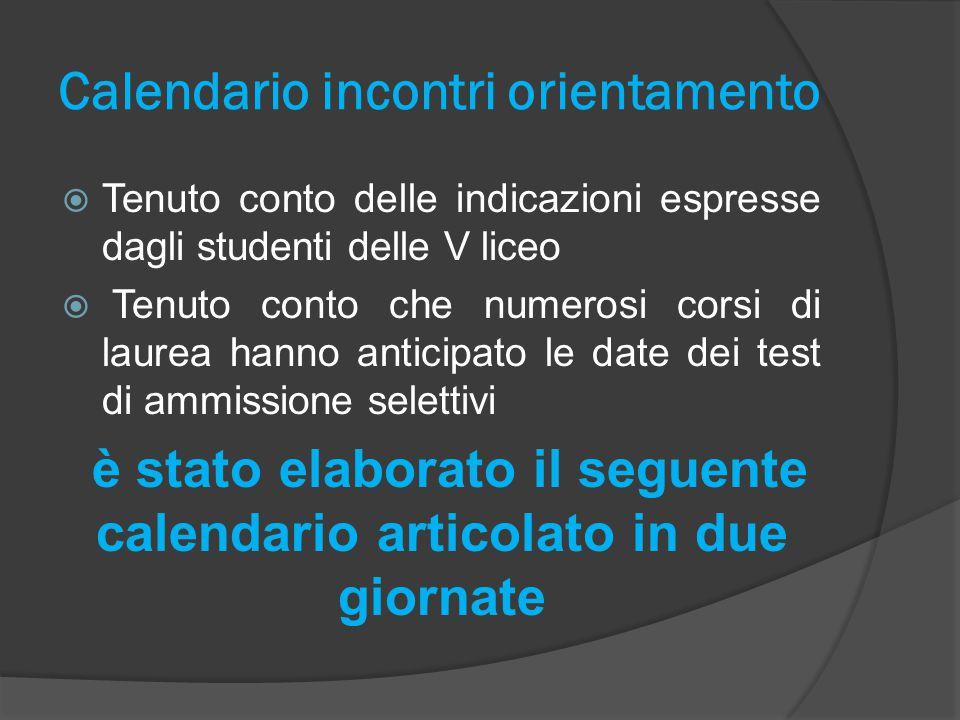 Calendario incontri orientamento  Tenuto conto delle indicazioni espresse dagli studenti delle V liceo  Tenuto conto che numerosi corsi di laurea ha