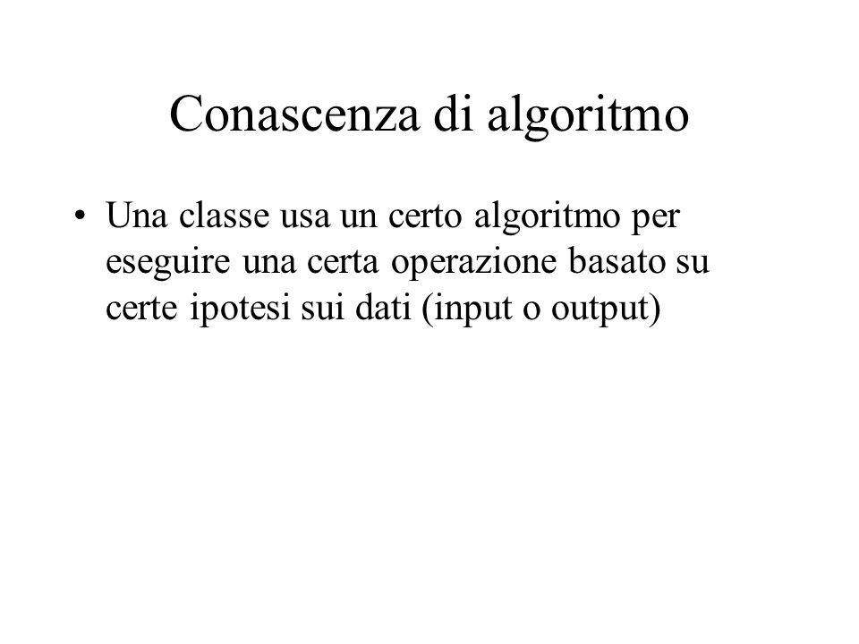 Conascenza di algoritmo Una classe usa un certo algoritmo per eseguire una certa operazione basato su certe ipotesi sui dati (input o output)