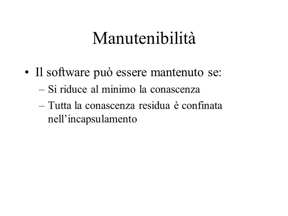 Manutenibilità Il software può essere mantenuto se: –Si riduce al minimo la conascenza –Tutta la conascenza residua è confinata nell'incapsulamento