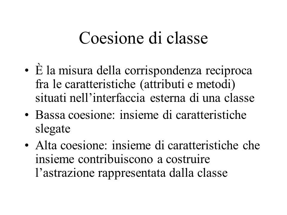 Coesione di classe È la misura della corrispondenza reciproca fra le caratteristiche (attributi e metodi) situati nell'interfaccia esterna di una classe Bassa coesione: insieme di caratteristiche slegate Alta coesione: insieme di caratteristiche che insieme contribuiscono a costruire l'astrazione rappresentata dalla classe