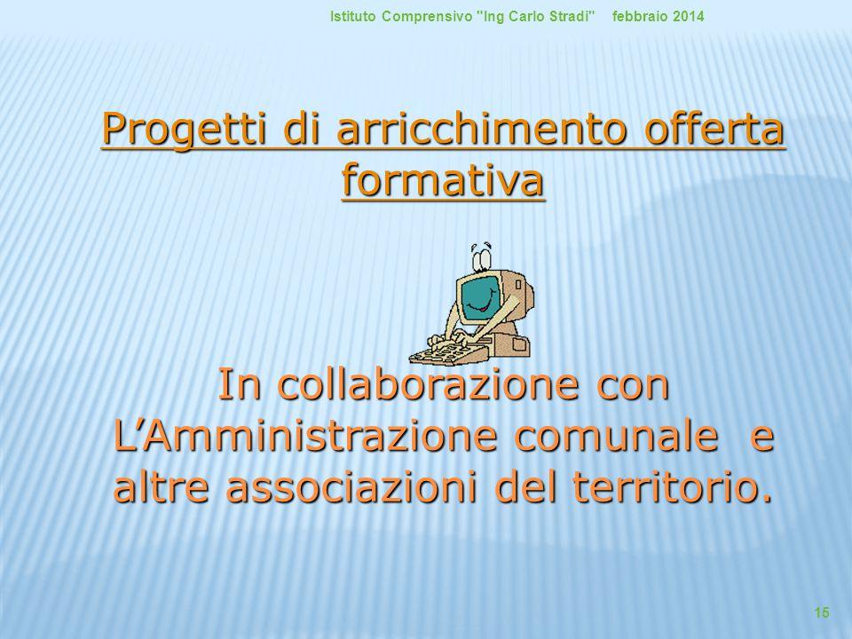 Progetti di arricchimento offerta formativa Progetti di arricchimento offerta formativa In collaborazione con L'Amministrazione comunale e altre assoc