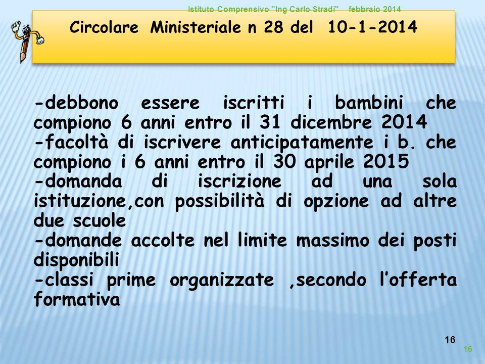 16 Circolare Ministeriale n 28 del 10-1-2014 -debbono essere iscritti i bambini che compiono 6 anni entro il 31 dicembre 2014 -facoltà di iscrivere an