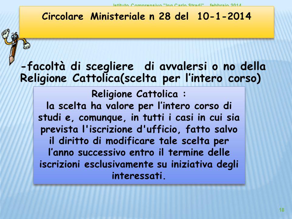 -facoltà di scegliere di avvalersi o no della Religione Cattolica(scelta per l'intero corso)  febbraio 2014Istituto Comprensivo