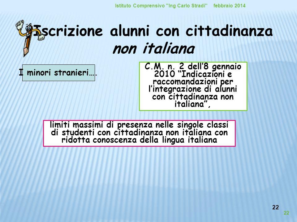 22 Iscrizione alunni con cittadinanza non italiana I minori stranieri…. febbraio 2014Istituto Comprensivo