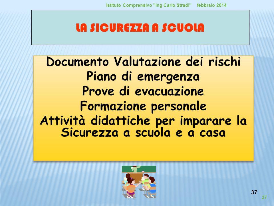 37 Documento Valutazione dei rischi Piano di emergenza Prove di evacuazione Formazione personale Attività didattiche per imparare la Sicurezza a scuol