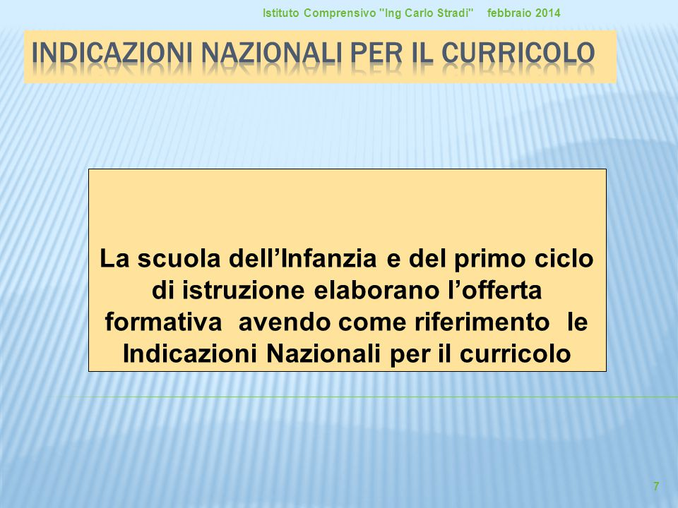 La scuola dell'Infanzia e del primo ciclo di istruzione elaborano l'offerta formativa avendo come riferimento le Indicazioni Nazionali per il curricol