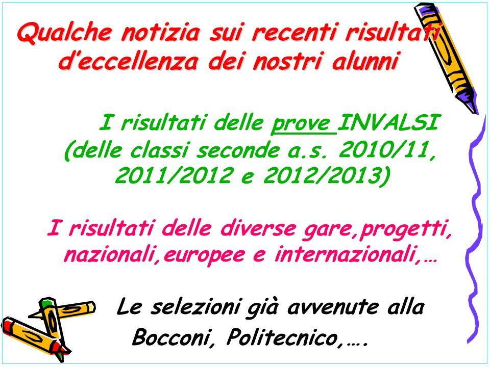 I risultati delle prove INVALSI (delle classi seconde a.s. 2010/11, 2011/2012 e 2012/2013) I risultati delle diverse gare,progetti, nazionali,europee