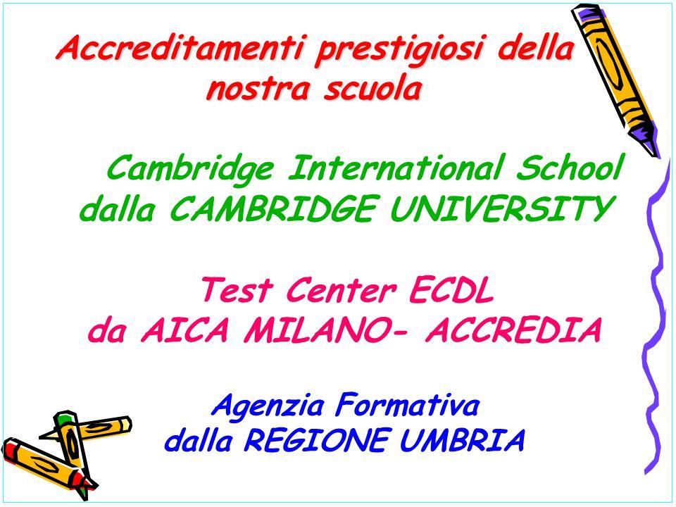 Cambridge International School dalla CAMBRIDGE UNIVERSITY Test Center ECDL da AICA MILANO- ACCREDIA Agenzia Formativa dalla REGIONE UMBRIA Accreditame