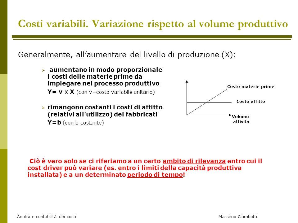 Massimo Ciambotti Analisi e contabilità dei costi Costi variabili. Variazione rispetto al volume produttivo Generalmente, all'aumentare del livello di
