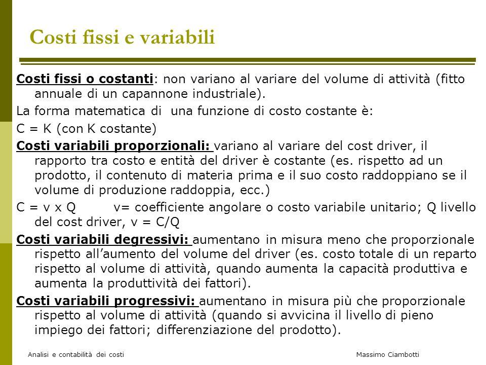 Massimo Ciambotti Costi fissi e variabili Costi fissi o costanti: non variano al variare del volume di attività (fitto annuale di un capannone industr