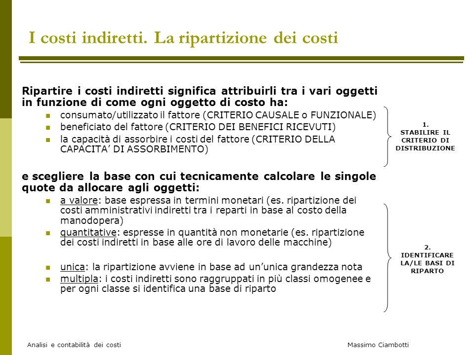 Massimo Ciambotti Analisi e contabilità dei costi I costi indiretti. La ripartizione dei costi Ripartire i costi indiretti significa attribuirli tra i