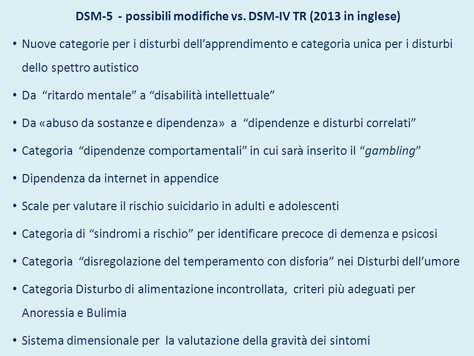 DSM-5 - possibili modifiche vs. DSM-IV TR (2013 in inglese) Nuove categorie per i disturbi dell'apprendimento e categoria unica per i disturbi dello s