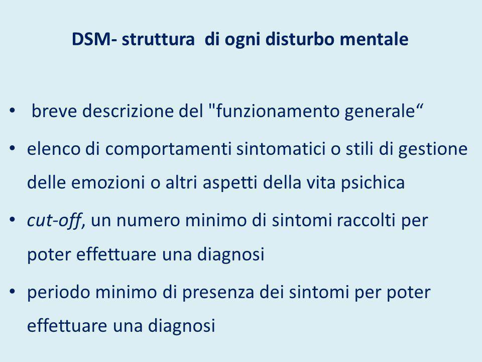 DSM- struttura di ogni disturbo mentale breve descrizione del