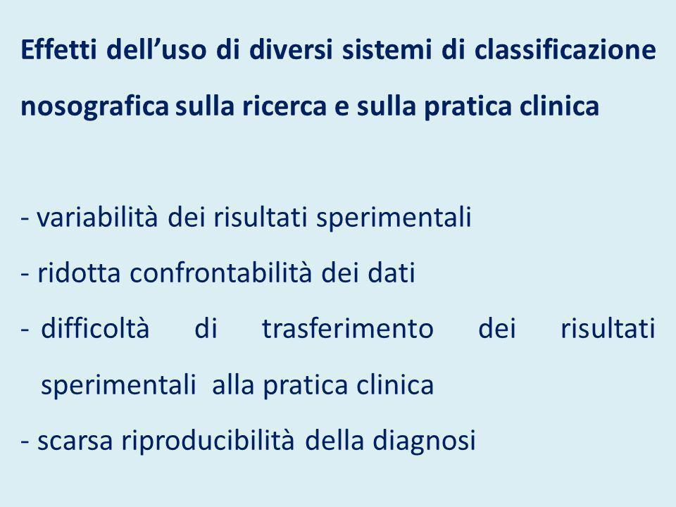 Effetti dell'uso di diversi sistemi di classificazione nosografica sulla ricerca e sulla pratica clinica - variabilità dei risultati sperimentali - ri