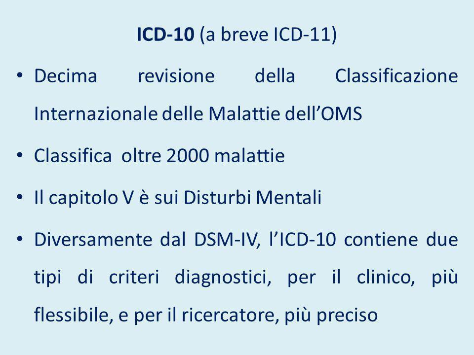 ICD-10 (a breve ICD-11) Decima revisione della Classificazione Internazionale delle Malattie dell'OMS Classifica oltre 2000 malattie Il capitolo V è s