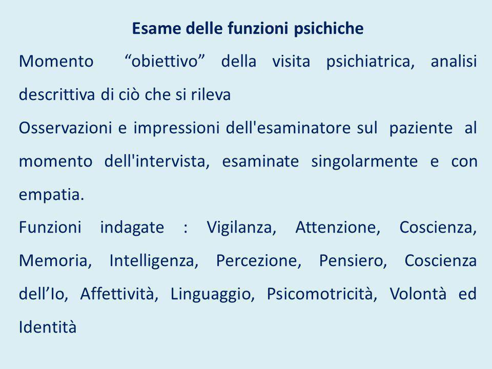 """Esame delle funzioni psichiche Momento """"obiettivo"""" della visita psichiatrica, analisi descrittiva di ciò che si rileva Osservazioni e impressioni dell"""